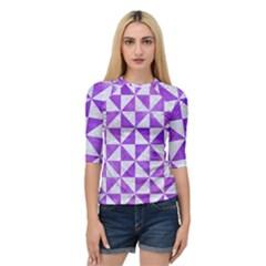 Triangle1 White Marble & Purple Watercolor Quarter Sleeve Raglan Tee