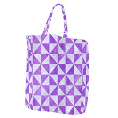Triangle1 White Marble & Purple Watercolor Giant Grocery Zipper Tote