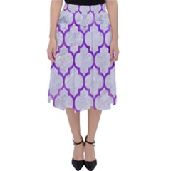 Tile1 White Marble & Purple Watercolor (r) Folding Skater Skirt
