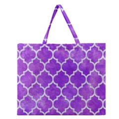 Tile1 White Marble & Purple Watercolor Zipper Large Tote Bag by trendistuff