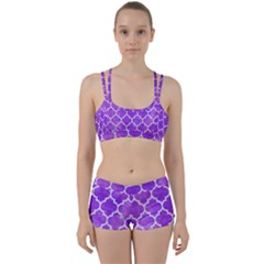 Tile1 White Marble & Purple Watercolor Women s Sports Set
