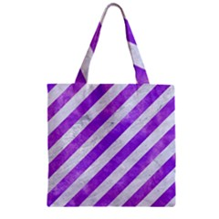 Stripes3 White Marble & Purple Watercolor (r) Zipper Grocery Tote Bag
