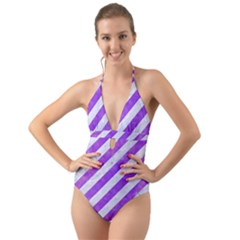 Stripes3 White Marble & Purple Watercolor (r) Halter Cut Out One Piece Swimsuit