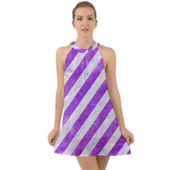 Stripes3 White Marble & Purple Watercolor (r) Halter Tie Back Chiffon Dress