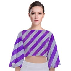 Stripes3 White Marble & Purple Watercolor (r) Tie Back Butterfly Sleeve Chiffon Top