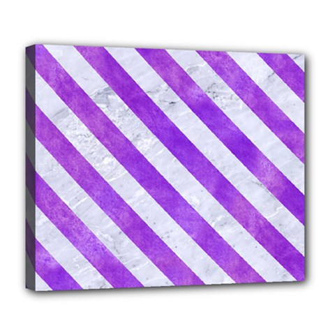 Stripes3 White Marble & Purple Watercolor Deluxe Canvas 24  X 20