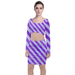 Stripes3 White Marble & Purple Watercolor Long Sleeve Crop Top & Bodycon Skirt Set