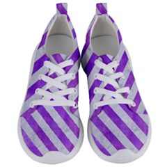 Stripes3 White Marble & Purple Watercolor Women s Lightweight Sports Shoes