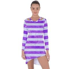 Stripes2white Marble & Purple Watercolor Asymmetric Cut Out Shift Dress