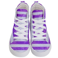 Stripes2white Marble & Purple Watercolor Kid s Hi Top Skate Sneakers