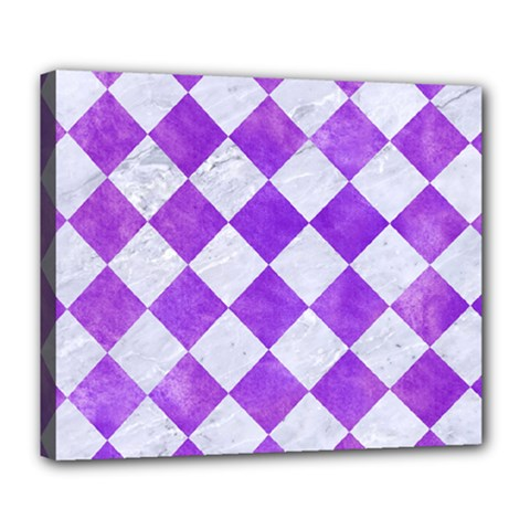 Square2 White Marble & Purple Watercolor Deluxe Canvas 24  X 20   by trendistuff