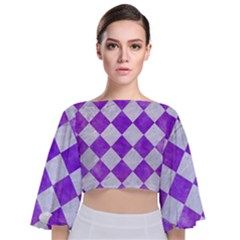 Square2 White Marble & Purple Watercolor Tie Back Butterfly Sleeve Chiffon Top