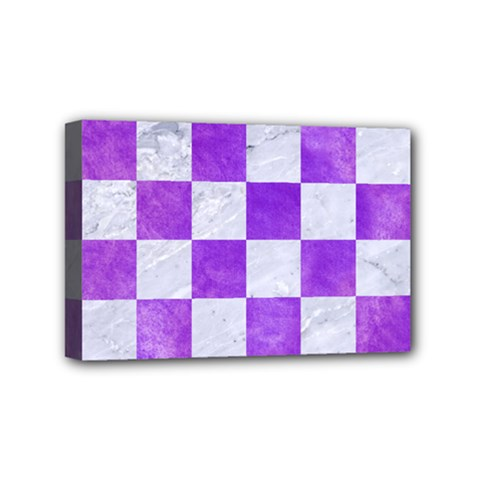 Square1 White Marble & Purple Watercolor Mini Canvas 6  X 4  by trendistuff