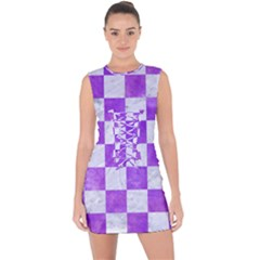 Square1 White Marble & Purple Watercolor Lace Up Front Bodycon Dress