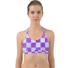 Square1 White Marble & Purple Watercolor Back Web Sports Bra