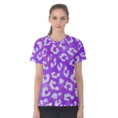 Skin5 White Marble & Purple Watercolor (r) Women s Cotton Tee