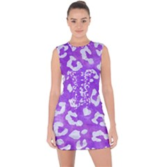 Skin5 White Marble & Purple Watercolor (r) Lace Up Front Bodycon Dress