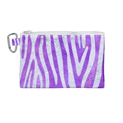 Skin4 White Marble & Purple Watercolor (r) Canvas Cosmetic Bag (medium)