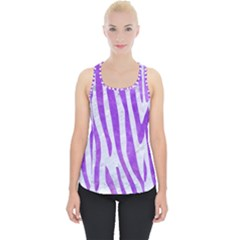 Skin4 White Marble & Purple Watercolor Piece Up Tank Top