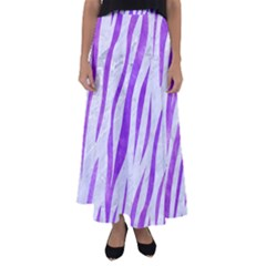 Skin3 White Marble & Purple Watercolor (r) Flared Maxi Skirt
