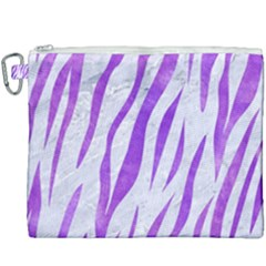 Skin3 White Marble & Purple Watercolor (r) Canvas Cosmetic Bag (xxxl)