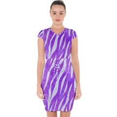 Skin3 White Marble & Purple Watercolor Capsleeve Drawstring Dress
