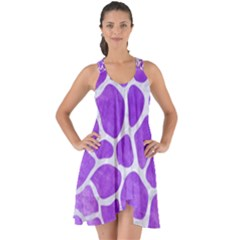 Skin1 White Marble & Purple Watercolor (r) Show Some Back Chiffon Dress