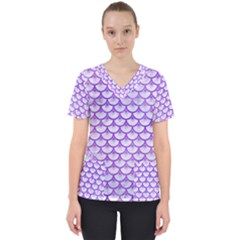 Scales3 White Marble & Purple Watercolor (r) Scrub Top