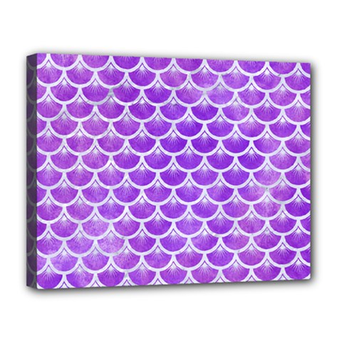 Scales3 White Marble & Purple Watercolor Canvas 14  X 11  by trendistuff