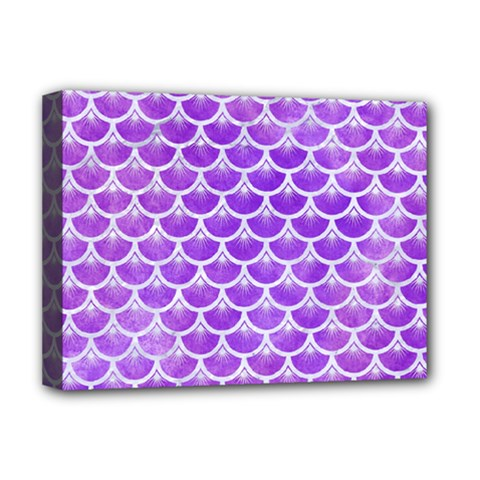 Scales3 White Marble & Purple Watercolor Deluxe Canvas 16  X 12   by trendistuff