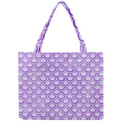 Scales2 White Marble & Purple Watercolor (r) Mini Tote Bag by trendistuff