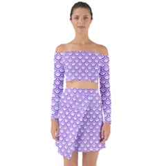 Scales2 White Marble & Purple Watercolor (r) Off Shoulder Top With Skirt Set