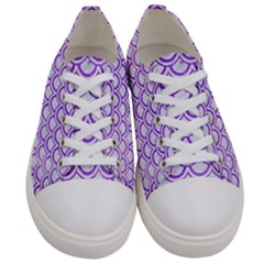 Scales2 White Marble & Purple Watercolor (r) Women s Low Top Canvas Sneakers