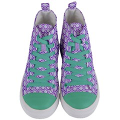 Scales2 White Marble & Purple Watercolor (r) Women s Mid Top Canvas Sneakers