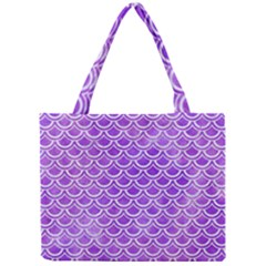 Scales2 White Marble & Purple Watercolor Mini Tote Bag by trendistuff