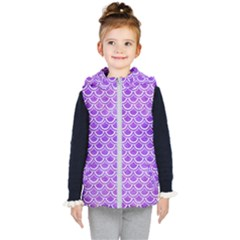Scales2 White Marble & Purple Watercolor Kid s Hooded Puffer Vest