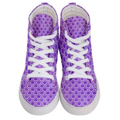 Scales2 White Marble & Purple Watercolor Men s Hi Top Skate Sneakers