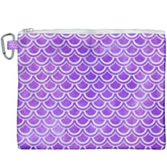 Scales2 White Marble & Purple Watercolor Canvas Cosmetic Bag (xxxl)