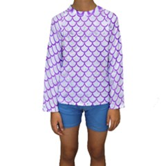 Scales1 White Marble & Purple Watercolor (r) Kids  Long Sleeve Swimwear by trendistuff
