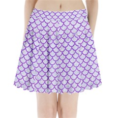 Scales1 White Marble & Purple Watercolor (r) Pleated Mini Skirt by trendistuff
