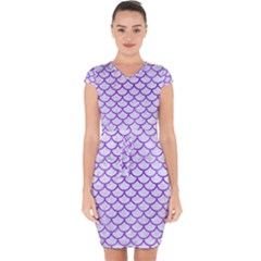 Scales1 White Marble & Purple Watercolor (r) Capsleeve Drawstring Dress