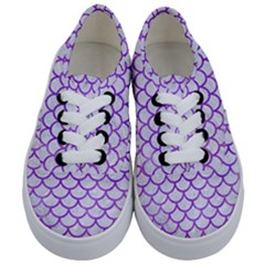 Scales1 White Marble & Purple Watercolor (r) Kids  Classic Low Top Sneakers