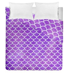 Scales1 White Marble & Purple Watercolor Duvet Cover Double Side (queen Size) by trendistuff