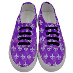 Royal1 White Marble & Purple Watercolor (r) Men s Classic Low Top Sneakers