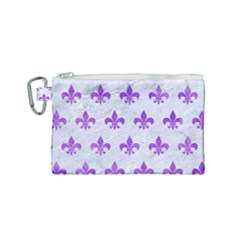 Royal1 White Marble & Purple Watercolor Canvas Cosmetic Bag (small)
