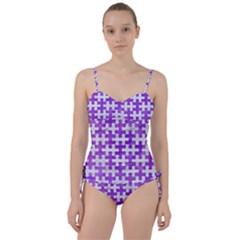 Puzzle1 White Marble & Purple Watercolor Sweetheart Tankini Set