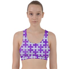 Puzzle1 White Marble & Purple Watercolor Back Weave Sports Bra