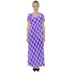 Houndstooth2 White Marble & Purple Watercolor High Waist Short Sleeve Maxi Dress