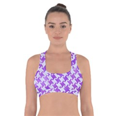 Houndstooth2 White Marble & Purple Watercolor Cross Back Sports Bra