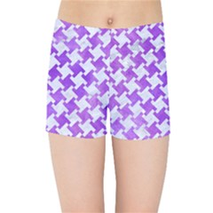 Houndstooth2 White Marble & Purple Watercolor Kids Sports Shorts